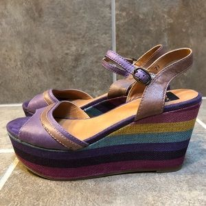 BC striped wedges Women's Size 7-1/2